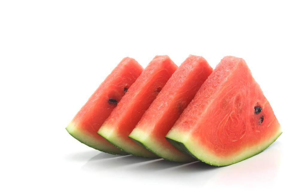 water melon slices lined up